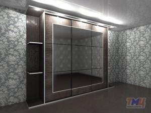 Фото. Трехверный шкаф-купе с кожей и зеркалом