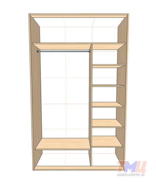 Двухдверный шкаф купе с зеркалом - мебельцентр.