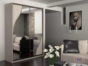 Фото корпусного шкафа-купе с графитовым зеркалом ШЗ13