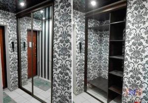 Фото встроенного двух дверного шкафа-купе. Двери: Зеркало серебро.